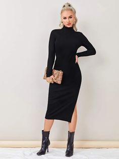 Mock Neck, Latest Dress, Dress P, Thighs, Fashion News, Ideias Fashion, High Neck Dress, Dresses For Work, Denim