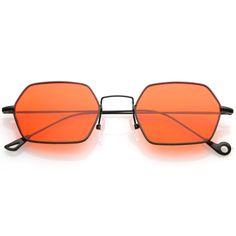 Small Metal Hexagon Sunglasses Ultra Slim Arms Colored Flat Lens 51mm