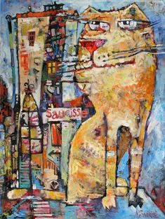 Hunting for sausages Painting Red Cat, Animal Fashion, Sausages, Abstract Expressionism, Cat Art, Saatchi Art, Oil On Canvas, Original Paintings, Hunting