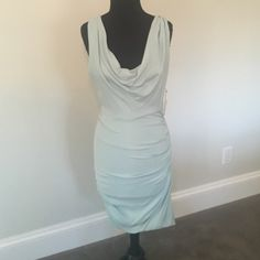 NWT Light Blue Alice and Olivia dress NWT Light blue Alice and Olivia dusty blur jersey fitted dress dress with ruching. Please note that although this dress is an 8, it fits more like a 4/6. Never been worn. Alice and Olivia Dresses
