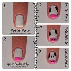 Cow Nail Art Tutorial  1. Start off with white base  2. Paint a small, pink oval for snout.  3. Paint some black splotches on the face.  4. Add 2 small black dots on the pink snout to complete the nose.  5. Add 2 ovals for the eyes and you're done! Enjoy your cute cow nails :)