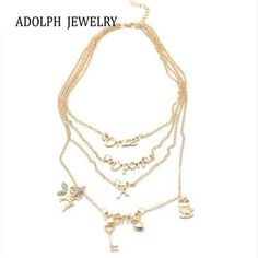 ADOLPH Jewelry For Women Multi Layer Maxi Necklace Gold 2015 New Design Fashion Once Upon A Time Statement Necklaces & Pendants