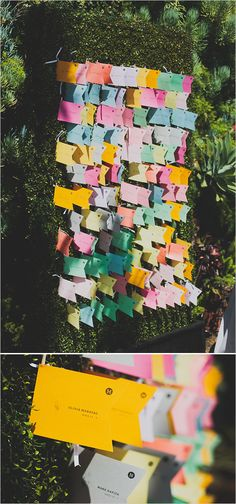 Hedge display with wedding program and seat assignment flags. #weddingchicks Captured By: Chaz Cruz Photography http://www.weddingchicks.com/2014/06/18/rainbow-wedding-with-a-super-cute-program-idea/