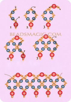 Resultado de imagen para free seed bead patterns and instructions Beaded Necklace Patterns, Seed Bead Patterns, Beading Patterns, Beaded Bracelets, Jewelry Necklaces, Jewellery, Beading Techniques, Beading Tutorials, Beaded Ornament Covers