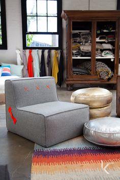 Quadrant Soft and metallic floor cushions in the #koskela showroom