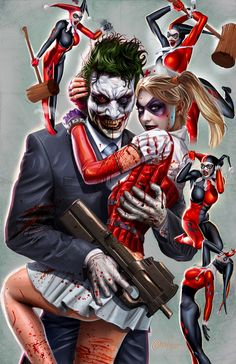 Old Harley Quinn v. New Harley Quinn and Joker- The five stages of grieving Comic Book Characters, Comic Character, Comic Books Art, Comic Art, Der Joker, Joker Art, Joker Batman, Batman Arkham, Bd Comics