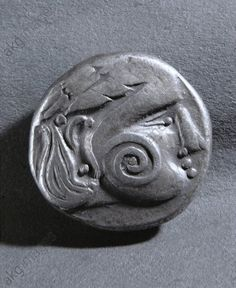 Ornament on the face of a Celtic silver coin from the Banat region, Balkans.