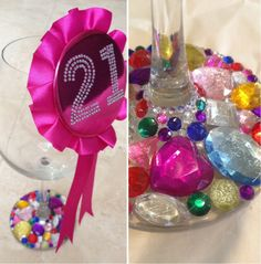 21 st bday wine glass and pin