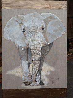 African elephant on linen canvas Acrylic & texture. African Elephant, Animal Paintings, Art Work, Original Artwork, Texture, Canvas, Animals, Artwork, Surface Finish