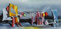 This piece is done by a French painter, Yves Tanguy. Tanguy was best-known for his misshapen rocks and molten surfaces that lent definition to the Surrealist aesthetic. Like other Surrealists, Tanguy's symbolism is personal, reflecting his obsession with childhood memory, dreams, hallucinations and psychotic episodes. He uses colorful shapes to make ridiculous, dream-like scenes.