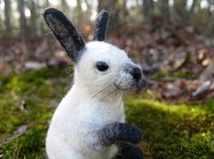 Needle Felted Baby Bunny Siamese Rabbit by Cindy Walker $100 on Etsy!