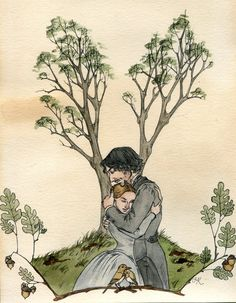 'Under The Oak Tree' (Jane Eyre) — an illustration by Kate O'Keefe. Via Kitty-Grimm DeviantArt Jane Eyre Bbc, Jane Austen, Literary Characters, Book Characters, Classic Literature, Classic Books, 7 Arts, Bronte Sisters, Old Movie Posters