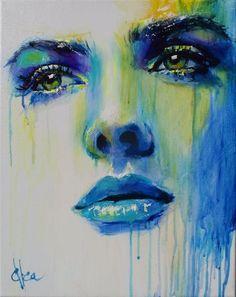 Obecnie na aukcjach Ewa Switala - River In Your Eyes Abstract Portrait, Portrait Art, Murciano Art, Beginner Art, Poster Art, Modern Art Paintings, Eye Art, Pics Art, Art Techniques
