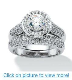 PalmBeach Jewelry 2.30 TCW Round CZ Pave Platinum-Plated Bridal Engagement Ring Wedding Band Set #PalmBeach #Jewelry #TCW #Round #CZ #Pave #Platinum_Plated #Bridal #Engagement #Ring #Wedding #Band #Set