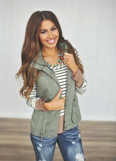 Dottie Couture Boutique - Hooded Vest- Olive, $46.00 (http://www.dottiecouture.com/hooded-vest-olive/)