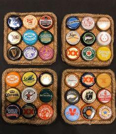 Diy Bottle Cap Crafts, Beer Cap Crafts, Bottle Cap Projects, Bottle Cap Art, Beer Cap Art, Beer Caps, Bottle Cap Coasters, Beer Coasters, Jute