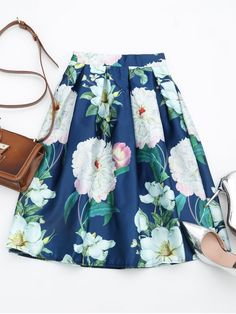 Floral Print A Line Skirt - FLORAL ONE SIZE