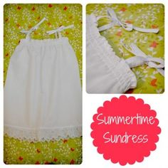 Summer Sundress Tutorial | DIY Sew a white seersucker dress for girls