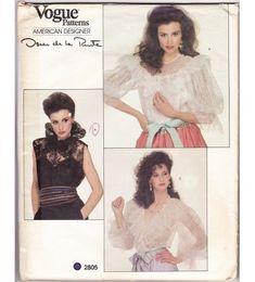 Oscar de la Renta Vintage Ruffled Lace Blouse Camisole Sewing Patterns Sz 12 Vogue 2805 UNCUT