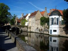 The Groenerei (a canal) in Bruges, Belgium. Bruges is known world wide for its canals, sometimes reffered to as