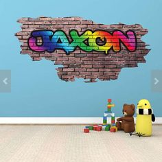 Personalized / Customized Name Graffiti Wall Decals Stickers Brick Printed Mural Bright Colours Adhesive Childrens Wall Decals, 3d Wall Decals, Framed Wall Art, Wall Stickers, Wall Murals, Personalized Wall Decals, Graffiti Designs, Kids Play Area, Graffiti Wall