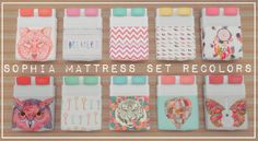 """Sophia Mattress Set 20 Recolors""""Heyo guys what's up? For this lovely new mattress set we have a total of 20 recolors from the awesome separated mattress by orangemittens. I just love this idea of..."""
