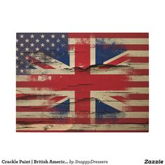 Crackle Paint   British American Flag Wood Wall Art                                                                                                                                                     More