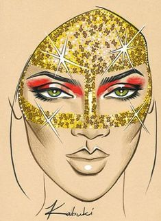From Rihanna's music video- this would make for some fun Halloween make-up :) by Kabuki Mac Makeup Looks, Eye Makeup, Bridal Makeup Looks, Clown Makeup, Wedding Makeup, Best Makeup Brushes, Best Makeup Products, Mac Face Charts, Gold Eye Mask