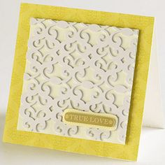 Lacy Wedding Card  Design by Lisa Storms  Lisa put a trendy lace-pattern paper to work by layering it over white cardstock for a beautiful embossed look. This quick, simple effect provides a huge impact perfect for a wedding card.