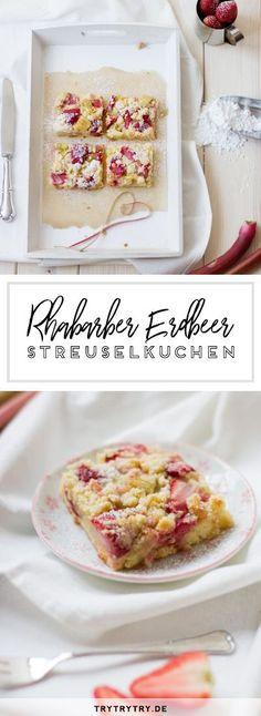Kuchen Rezepte. Backen. Rhabarber Erdbeer Streuselkuchen vom Blech