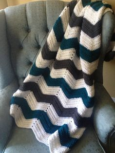 Adult size chevron crochet white, charcoal gray and teal striped blanket/afghan