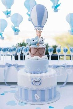 Hot Air Balloon Baptism Party Ideas Photo 1 of 39 Deco Baby Shower, Torta Baby Shower, Boy Baby Shower Themes, Baby Shower Balloons, Baby Shower Parties, Baby Boy Shower, Baby Shower Decorations, Shower Party, Baptism Party