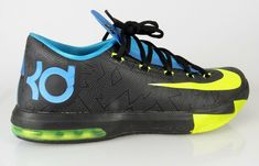 another chance 4b6c5 3db1d Nike Mens KD VI Away II Black Volt Vivid Blue Basketball 599424-010 Size 11