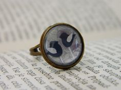 Blue Birds Unique Glass Ring by lintunakit on Etsy, $15.00