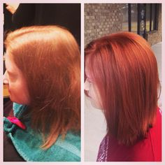 Before and after.  Red hair. Copper hair.