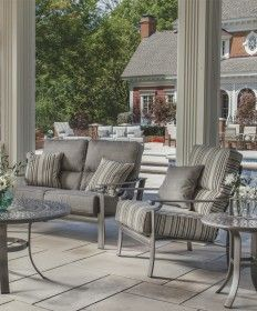 Outdoor Furniture Comfortable, long lasting furniture and stylish home accents. of In Stock Collections Available for Delivery Save on Outdoor Furniture! Furniture Ideas, Outdoor Furniture Sets, Outdoor Rooms, Outdoor Decor, Home Accents, Wrought Iron, Seat Cushions, Hammock, Teak