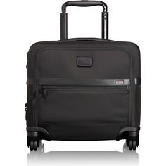 Tumi Alpha 2 4-Wheeled Compact Brief (9.224.955 IDR) ❤ liked on Polyvore featuring bags, briefcases and black
