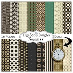 Timeless Digital Scrapbooking Papers by DigiScrapDelights on Etsy Greay Teal Brown