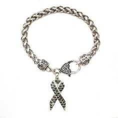 1 Carat Black Awareness Ribbon Bracelet