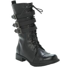 Black Buckle Combat Boots   Hot Topic ($50) ❤ liked on Polyvore featuring shoes, boots, laced boots, lace up boots, lacing combat boots, black military boots and army boots