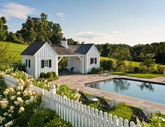 Love the little pool house cottages, picket fence amp; of course the pool ~ from ThingsWeLove:White Picket Fences Pergola Diy, Pergola Plans, Diy Patio, Pergola Ideas, Gazebo, Black Pergola, Corner Pergola, Modern Pergola, Pergola Shade