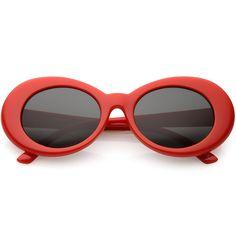 7dc90e6c03 Amazon.com  zeroUV - Bold Retro Oval Mod Thick Frame Sunglasses Clout  Goggles with Round Lens 51mm (Black Smoke)  Clothing