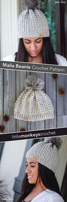 Malia Beanie Winter Hat Crochet Pattern By Little Monkeys Crochet Malia Cal 2017 Crochet Adult Hat, Crochet Beanie Hat, Beanie Pattern, Knit Or Crochet, Crochet Scarves, Crochet Crafts, Crochet Clothes, Crochet Stitches, Free Crochet