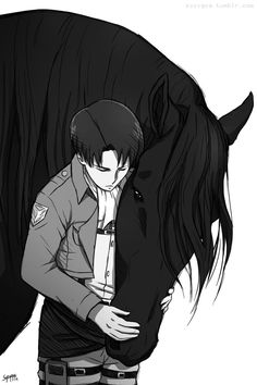 What a huge horse- Oh it's just that Levi is so tiny *runs away before Levi catches her*