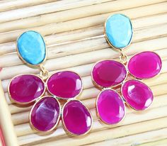 Super Sale Fabulous Ruby Chalcey & Sleeping Turquoise Gold Plated Earring D-4408 #Handmade #DropDangle #CasualParty