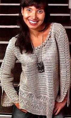 пуловер с разрезами на боках и рукавах