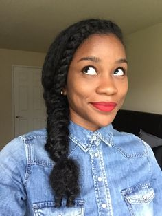 Fishtail braid on Naturally curly hair --- I wish I remembered how to do a fish tail.  Doing it with weave and natural hair are extremely different lol