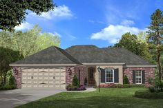 Ranch Style House Plan - 3 Beds 2 Baths 1500 Sq/Ft Plan #430-59 Exterior - Front Elevation - Houseplans.com