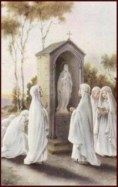 Catholic Art, Catholic Saints, Roman Catholic, Religious Art, Blessed Mother Mary, Blessed Virgin Mary, Catholic Wallpaper, First Communion Veils, Vintage Holy Cards