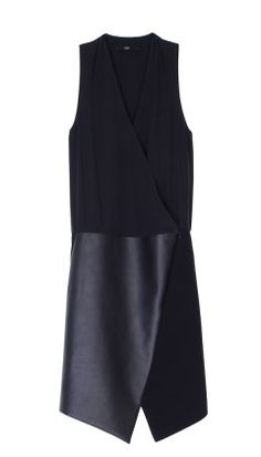 TIBI Leather Asymmetrical Wrap Dress